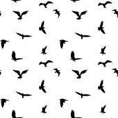 Fotografie Seamless pattern of flying birds silhouettes on white background. Vector illustration