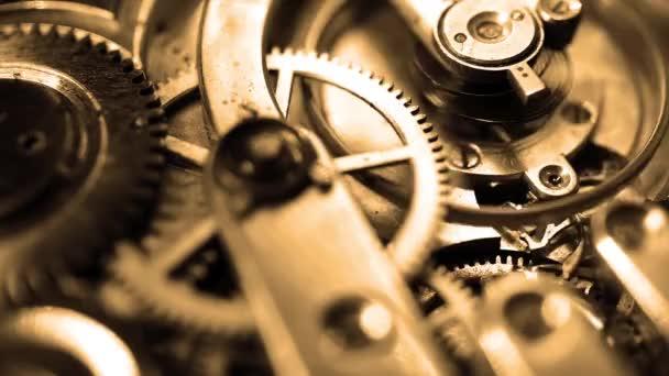 Old vintage watch mechanism working macro retro filtered