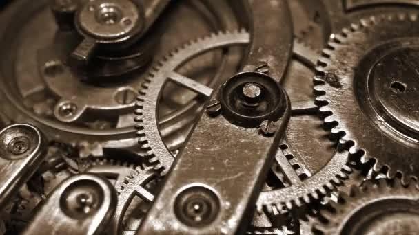 Staré vintage hodinky mechanismus pracovní makro (cyklických video) retro filtrované
