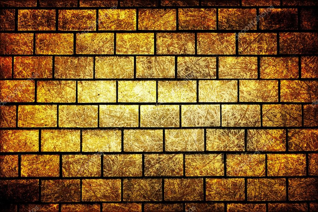 Texture of golden decorative tiles in form of brick high contrasted ...