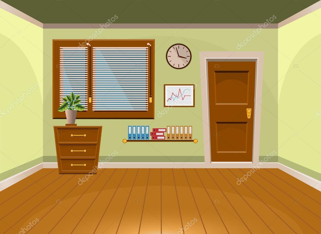Cartoon Room: Cartoon Flat Vector Interior Office Room In Lime Style