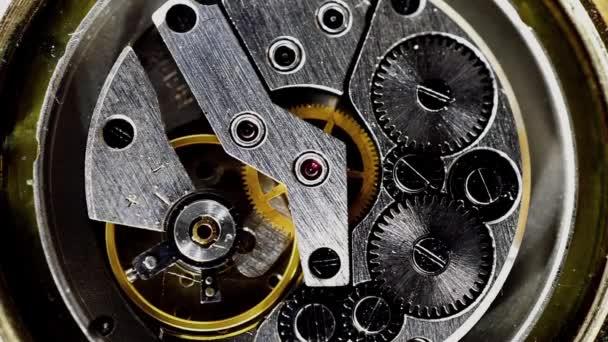 Vintage watch mechanism working macro steel filtered (looped video)