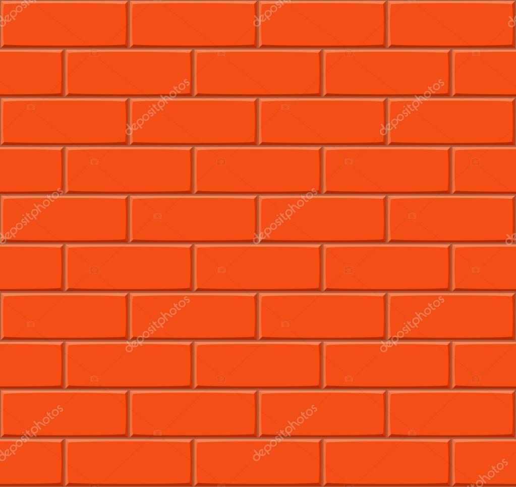 Cartoon Hand Drown Dark Orange Seamless Brick Wall Texture