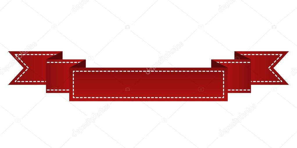 Bordado cinta roja aislada en blanco. Puede ser utilizado para ...