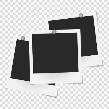 Set of realistic vector photo frames on metal rivets. Template photo design. Vector illustration