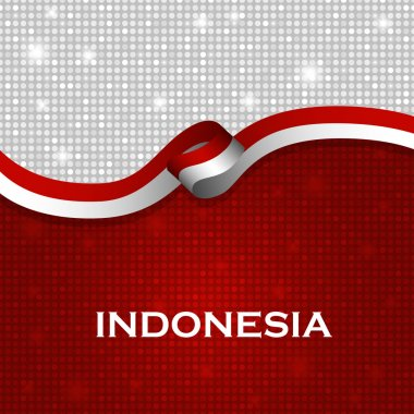 Indonesia flag ribbon shiny particle style. Vector Illustration