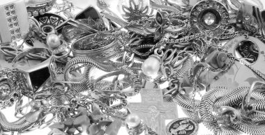 Background of jewelery isolated on white black and white