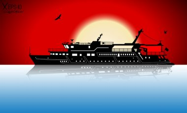 Silhouette of touristic pleasure boat sailing on the river with reflection on water and red sunset and seagulls. Vector illustration