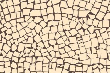 Vector texture of ivory asymmetric decorative tiles wall. Vector illustration clip art vector