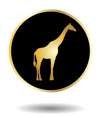 Vector golden and black icon with giraffe isolated on white with shadow. Vector illustration