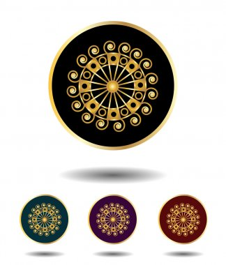 Vector icon logo set 3 in 1 with vintage gothic gold ancient sun sign on black, green, violet and red background isolated on white with shadow