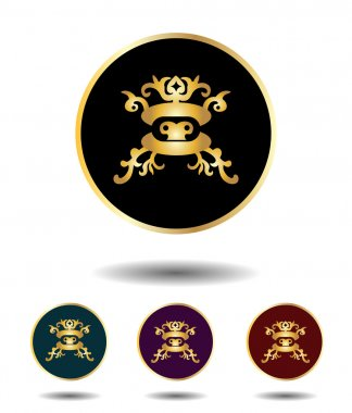 Vector icon logo set 3 in 1 with vintage gothic gold Mongolian mask on black, green, violet and red background isolated on white with shadow