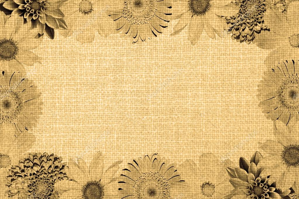 Vintage frame with flowers collage mix gerbera, chrysanthemum ...