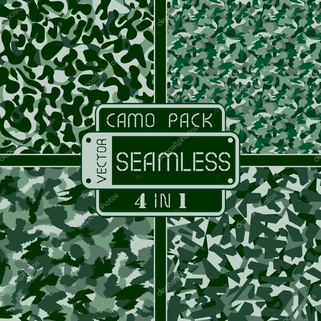 War green forest camouflage pack 4 in 1 seamless vector pattern. Can be used for wallpaper, pattern fills, web page background, surface textures. Vector illustration