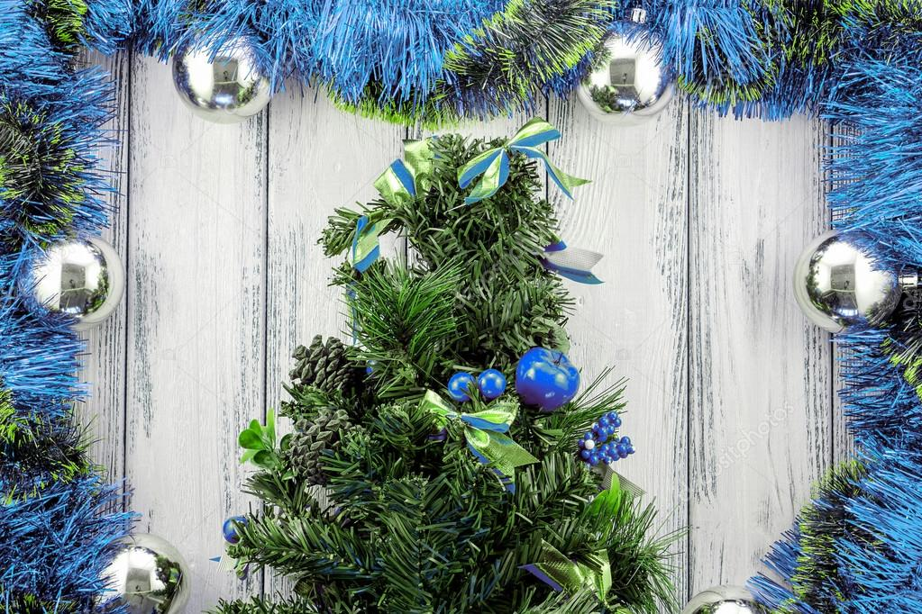 New Year Theme Christmas Tree With Blue And Green Decoration And