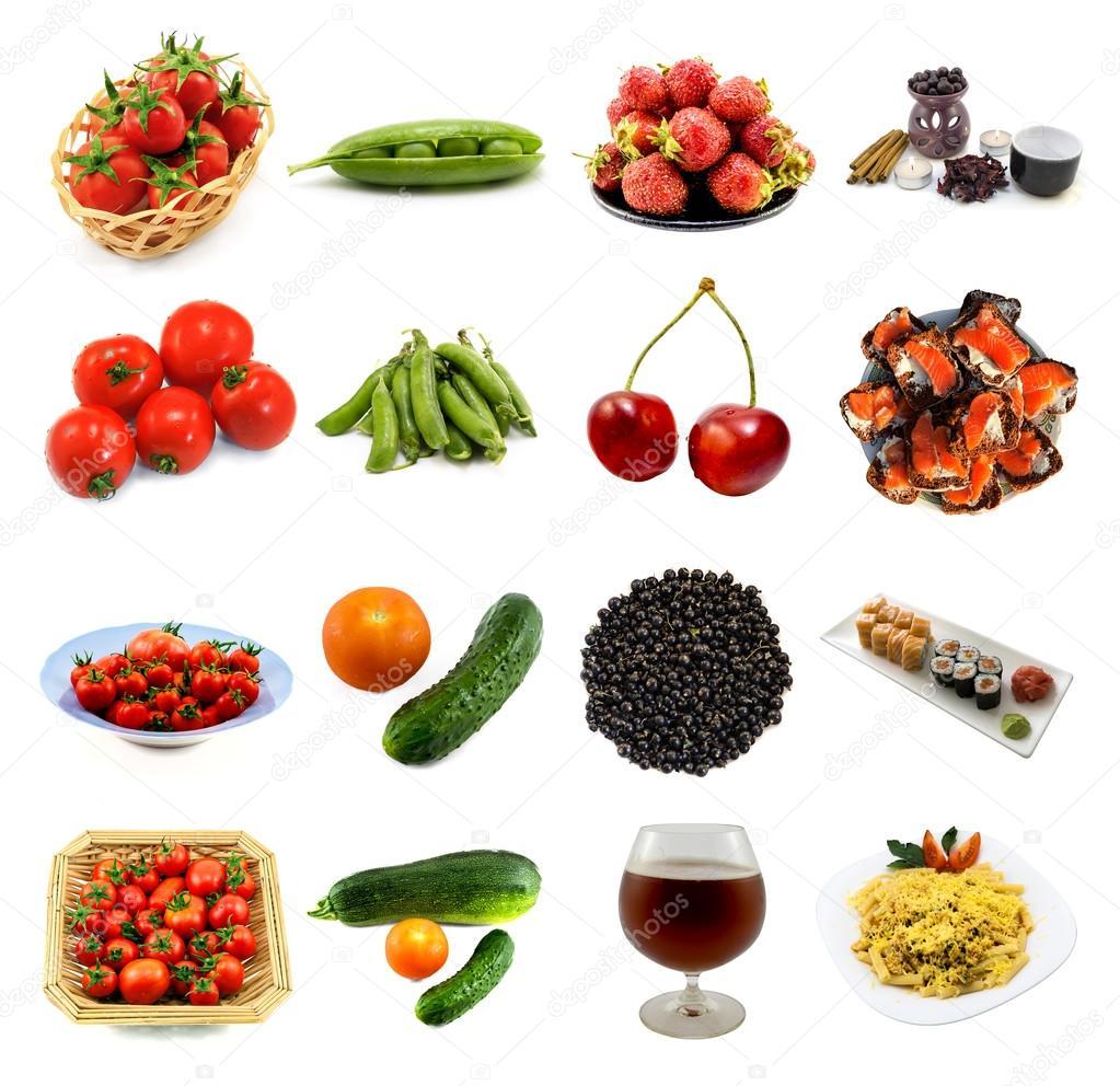 6f43818f2c91f0 Пачку 16 в 1 продуктів харчування і напоїв, ізольовані: помідори ...