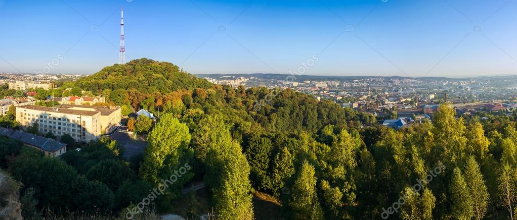 Panorama aerial view of High Castle, Lviv, Ukraine