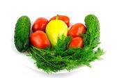 Vegetable: tomato, cucumber, pepper dill isolated on white