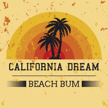 california dream typography, t-shirt graphics. vector illustrati