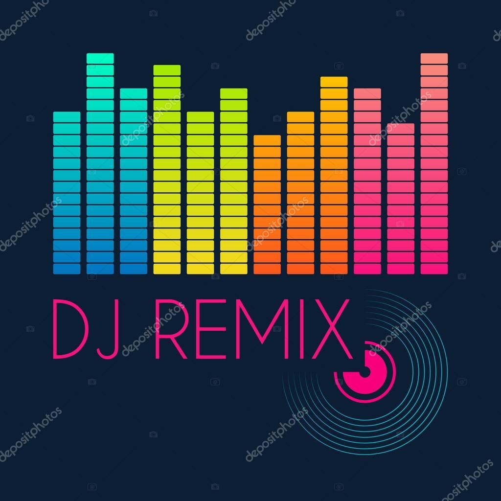 DJ remix de tipografia, gráficos de t-shirt  ilustração vetorial