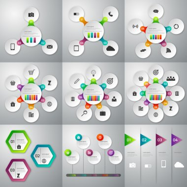 A set of illustrations of infographics . Templates for 3, 4 , 5,