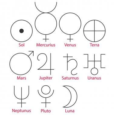 Vector illustration of astrological symbols