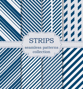 Vector illustration of a set of seamless patterns strips