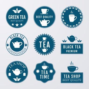 Vector illustration set of logos on the theme of tea