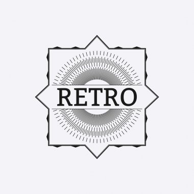 Vector illustration. retro logo with rays