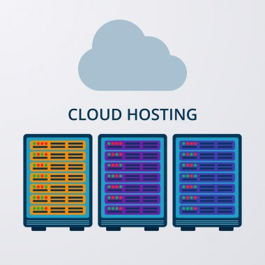 Vector illustration of a flat design of cloud hosting