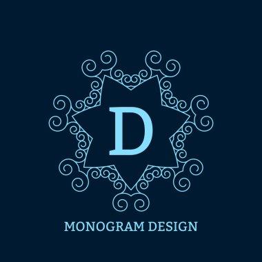 Vector illustration of the linear blue monogram.