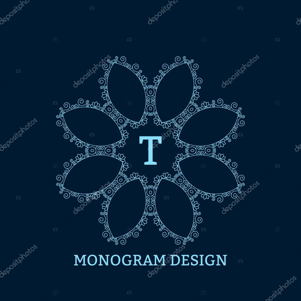 Vector illustration of the linear blue monogram.