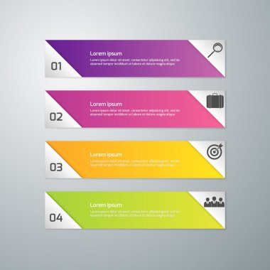 Vector illustration of business infographics 4 options . Set of rectangular shapes separated triangles