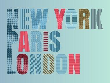 Vector illustration print T-shirt New York, Paris , London