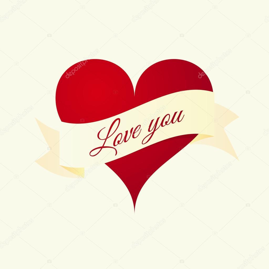 Vektor-Illustration des Herzens mit Aufschrift liebe dich ...