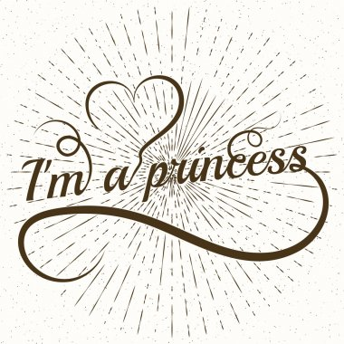 Princess word letters with heart