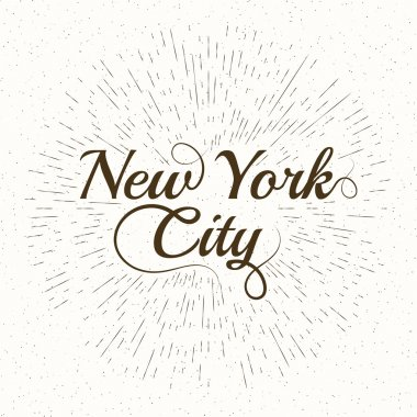 Vintage Hand lettered textured New York