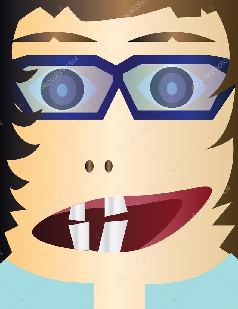 Creepy Kid Head Cartoon Character With Glasses And An Open Mouth