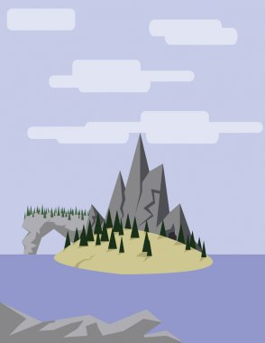 Abstract landscape with an yellow island on purple waters with pine trees, hills and mountains, over a light purple background with white clouds. Digital vector image.