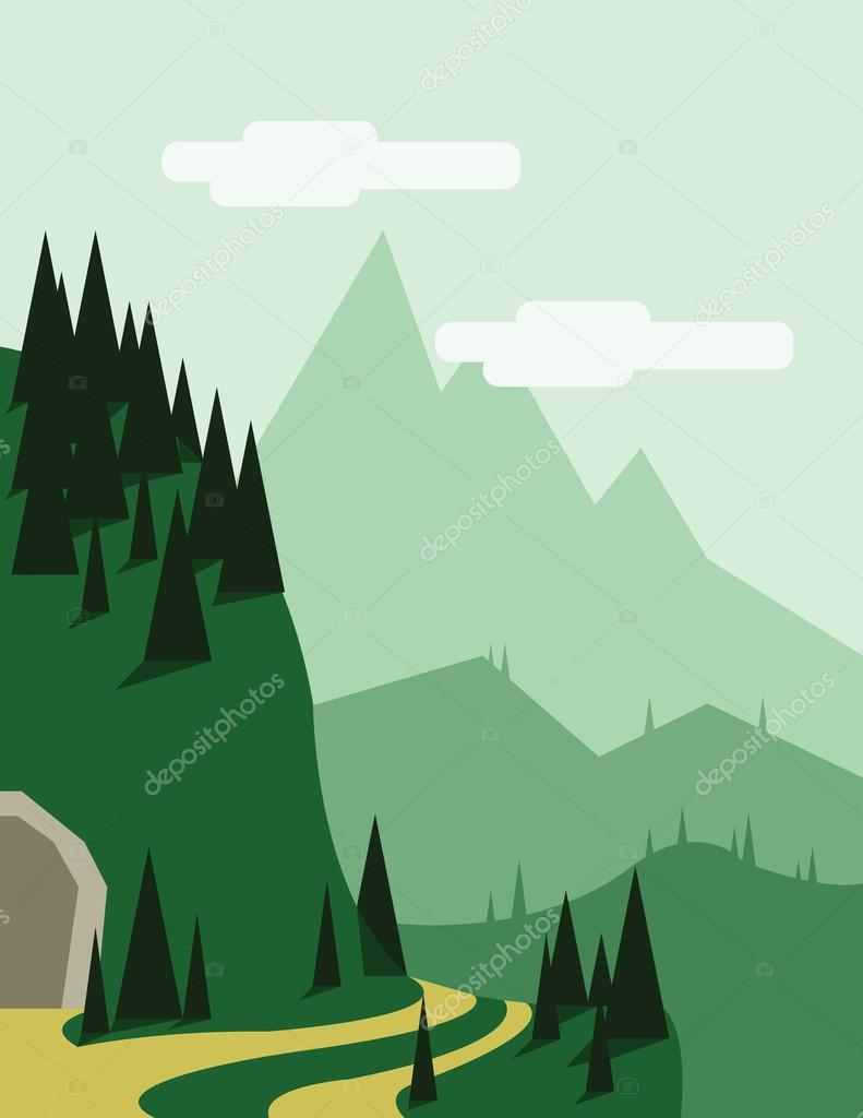 Abstract landscape with pine trees, an yellow curved road, a tunnel entry, green hills and mountains, over a light green background with white clouds. Digital vector image.