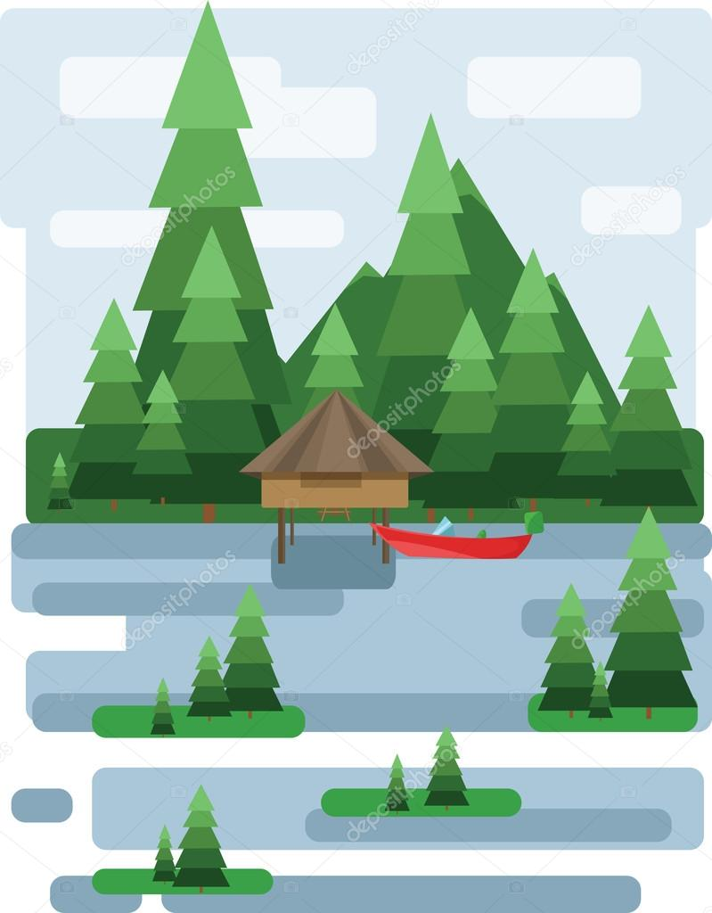 Abstract landscape design with green trees and clouds, a house and a boat on a lake, flat style. Digital vector image.