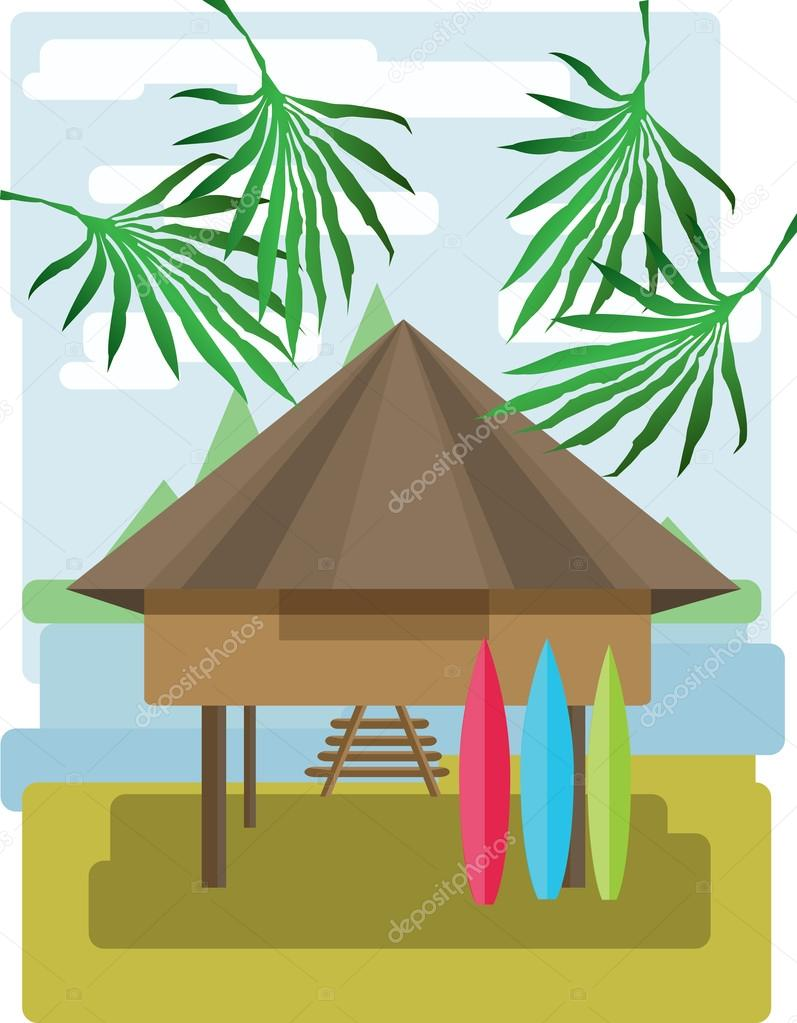 Abstract landscape design with palm trees and clouds, wooden tribal house with surf boards, flat style. Digital vector image.