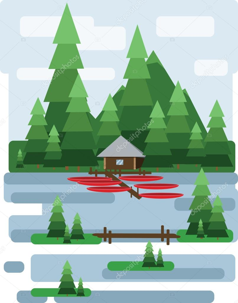 Abstract landscape design with green trees and clouds, a house and a boats on a lake, flat style. Digital vector image.