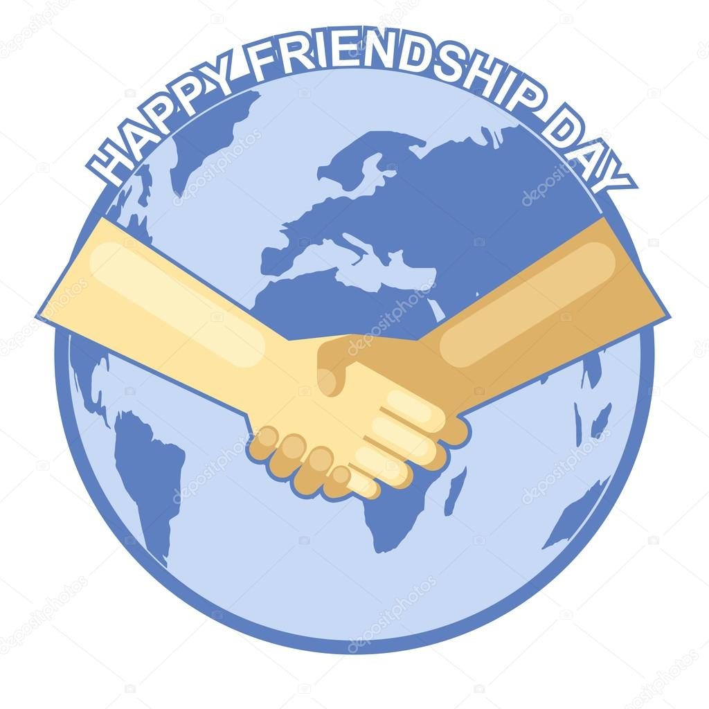 Happy Friendship Day Card 4 August Best Friends Two Shaking Hands