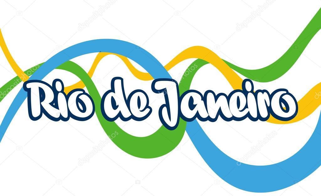 abstract rio de janeiro logo, with national flag color lines, over
