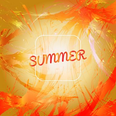 Abstract summer card design with white frame over orange splash painted background. Digital vector image