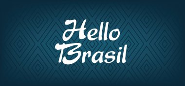 Hello Brasil card over dark blue background with triangles, in outlines. Digital vector image