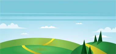 Abstract landscape with green fields, trees, paths and clouds. Digital vector image