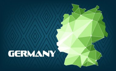 Germany country map design with green and white triangles over dark blue background with squares. Digital vector image
