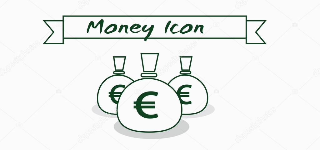 Money Icon With Euro Currency Symbol With Ribbon Over White